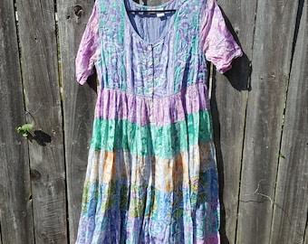 1990's Empire Waist Pastel Dress