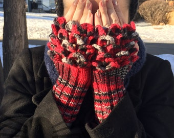Two-In-One Dragon Scale Fingerless Mitts - Knit & Crochet - MADE TO ORDER