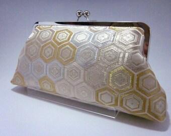 Gold Clutch/Geometrical clutch/Kimono purse/  Purse / Hand-made/ Vintage Kimono Obi bag/13