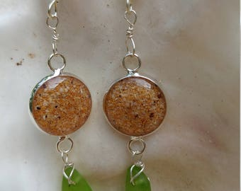 Earrings of genuine green seaglass and Makena beach sand from Maui wrapped in sterling silver