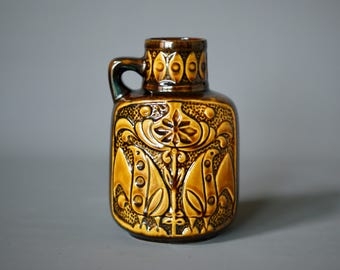 West German Pottery Vase, Bay Keramik, Bodo Mans Design, Made in Germany, Fat Lava Vase, German Mid Century, Rustic Modern German Vase