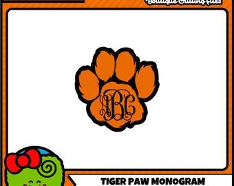 Tiger Paw SVG Paw Print SVG Monogram svg Paw Print Monogram Commercial Free Cricut Files Silhouette Files Digital Cut Files