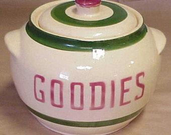 """Watt Pottery Cookie Jar """"Goodies"""" Rare"""