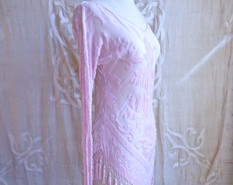 Pink Silk Velvet Burnout Beaded Fringe Tunic