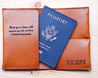 Wedding Gift - Personalized Passport Cover Holder, Leather Travel Wallet, Bridal Shower Gift, Engagement Gift, Honeymoon Gift, Pre-Vacation