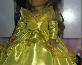 "Belle ball gown made for 18"" dolls like the American Girl doll"