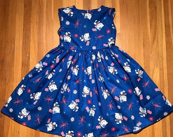Hello Kitty American Flag Girls Blue Dress Patriotic 4th of July, Fourth of July, Labor Day Summer Dress Size 4T