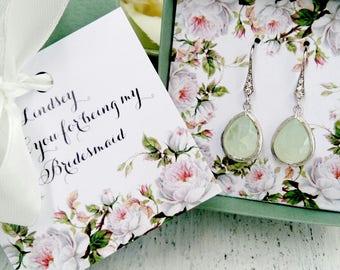 Pistachio green Bridesmaid earrings, Bridesmaid gift, Bridesmaid jewelry, Bridesmaid jewelry set, Bridesmaid proposal