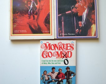 Three Vintage 1960's/1970's rock and roll books: The Monkees go Mod, Inside Pop 2, Woodstock 69
