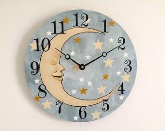 Man in the Moon Wall Clock - Celestial Nursery Wall Decor - Moon and Stars Baby's Room Decor - Unique Wall Clock - Baby Shower Gift