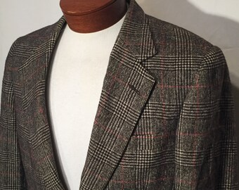 Vintage 40 Medium Black White Red Glen Plaid 2 Button Camel Hair Men's Sport Coat Jacket Blazer Ivey's Joseph Benjamin 80s Made in USA