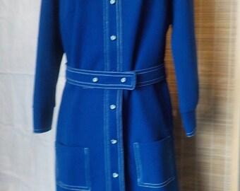 SALE  Vintage 1960's Navy Blue Belted Straight Cut White Buttons Dress 1960's Dacron Polyester Knit  Sz 8 - 14  Long Sleeve By Bodin Knits