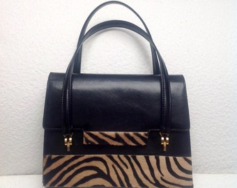 Stunning Customized Vtg 60s GUCCI Original Black Handbag Customized With Pony Fur Details. One-of-a-kind Made in Italy