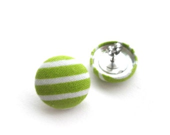 19mm White green stripes fabric covered button stud earrings, post earrings, fabric earrings, green ear studs jewelry