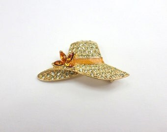 Monet Brooch Hat Pin Hat Brooch Floppy Hat Sun Hat Pave Rhinestone Ladies Women's Vintage Hat Brooch Pin Jewelry