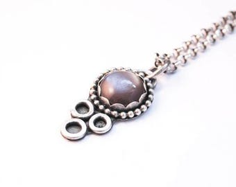 Handmade Brown Moonstone pendant, oxidized sterling silver, 12mm moonstone cabochon, scalloped setting, bubble wire