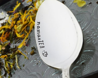 NamasTEA Hand Stamped Tea Spoon • Stamped Silverware • Gift Idea for Tea Lover
