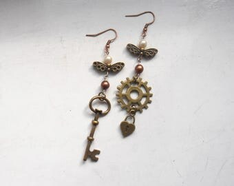 Lock and Key Steampunk Earrings