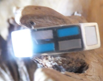 Turquoise, Opal and Sterling Squared Off Ring.... size 5.5 only
