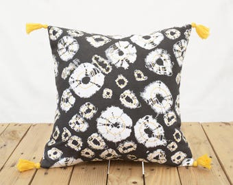 Shibori diamond pillow cover, grey print,bright yellow tassels, sizes available,