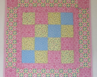 "Doll Quilt, 19.5"" x 19.5"", Pink, Yellow, Blue, Daisies, Four Patch Quilt, Free Pillow"