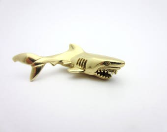 Great White Shark Pendant 14k Yellow Gold Charm