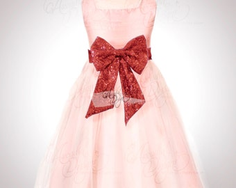 Sparkle Red Sequin Waist Pre-tied Bow for Flower Girl Dresses Bridesmaids Bridal Dress dress Prom Events READY TO SHIP