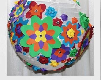 Rainbow Flowers paper lantern lampshade