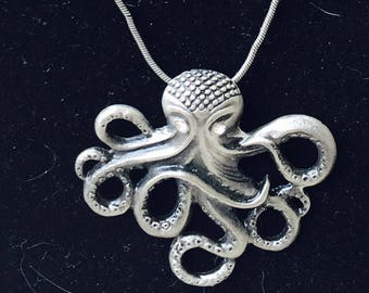 Vintage Inspired Silver Steampunk Octopus Necklace Pendant