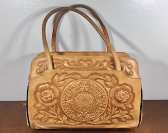 Tooled Leather Purse, Roses, Aztec Calendar, Made in Mexico