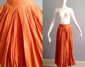 Vintage Pure Linen Skirt ~ Modern Box Pleat High Waisted Maxi ~ Full Sweep Circle Skirt