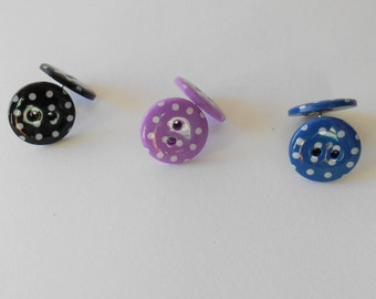 Polka Dot Earrings, Fun Buttons, Quirky Gifts for Girls,  Original Jewellery, Bright Coloured Accessory, alternative Holiday gifts