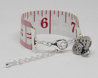 Re-purposed Tape Measure Bracelet, Choice of Charms, Gifts for Sewing Lovers, Creative Enthusiasts, Quilter Presents, Adjustable Bangle