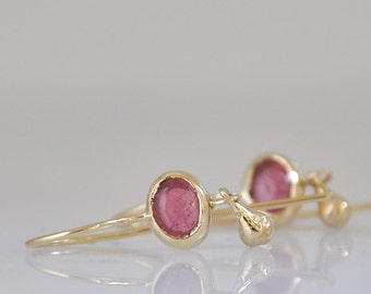 14k Gold Earrings, Pink Tourmaline Earrings, Hanging Earrings, Small Dangle Earrings, 14k Gold Dangle Earrings, 14k Gold Hanging Earrings