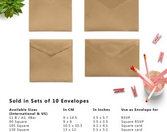 10 x Kraft Envelopes, Brown Envelopes, 4x6 Envelopes, A2 Envelopes, A7 Envelopes, C5 Envelope, C6 Envelopes, Set of 10 Envelopes