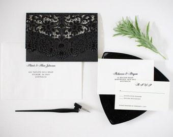 Black and White Invitations, Black Wedding Invitations, Luxury Wedding Invitation, Romantic Wedding Invitation,
