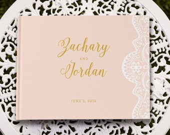 Blush Wedding Guest Book, Blush and Gold Wedding Guestbook, Wedding Sign In Book GB 103