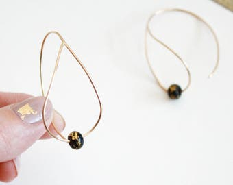 Black Bead Teardrop Hoop Earrings - 14K Gold Filled Wire Hoop Earrings with Gold Leaf -Teardrop Shaped Hoop Earrings