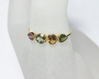 Dainty Tourmaline Gemstone 14K Gold Ring, Size 7.5, gemstone band, Ready to Ship, minimalist