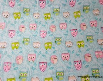 Flannel Fabric - Owls on Teal - 1 yard - 100% Cotton Flannel