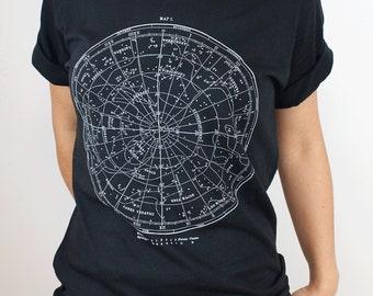 Star Chart Glow in the Dark T-Shirt | Night Sky Astronomy Tee, Stars, Star map, Science Shirt, science tee vintage constellation, NASA