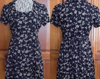 90s Jody California Black Floral Tie Waist Short Sleeve Collared Mini Dress- Size 5 Small