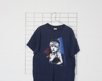 1986 les miserables navy blue tee shirt size xl