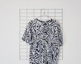 sheer boxy weird pattern blouse shirt