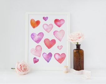 watercolor hearts printable · valentine's day wall art · pink hearts · love printable · heart decor · i love you sign · valenties day decor