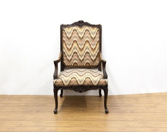 French Flame Stitch Arm Chair