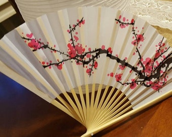 "9"" Cherry Blossom Silk Hand Fans"