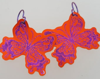 Butterfly Earrings, Purple and Orange in Anodised Aluminium