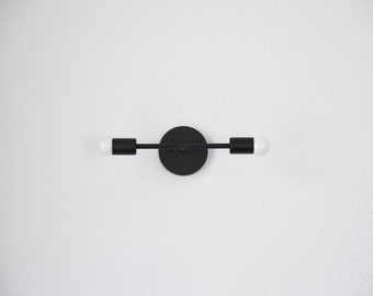Free Shipping! Matte Black Wall Sconce Vanity 2 Bulb Modern Abstract Mid Century Industrial Art Light Bathroom Powder Coated UL Listed