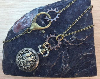 Steampunk Bird Pocket Watch Necklace FREE Gift Box FREE Shipping Codes Steampunk Boho Watch WORKS Clock Jewelry Cosplay Gypsy Gift for Her